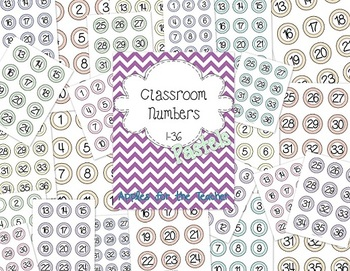 Pastel Classroom Numbers 1-36