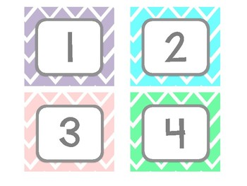 Pastel Classroom Numbers  1 - 36