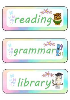 Pastel Classroom Schedule Labels