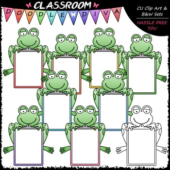 Pastel Clipboard Frogs Clip Art - Frogs With Clipboards Clip Art & B&W Set