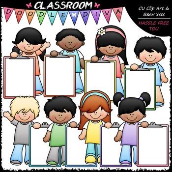 Pastel Clipboard Kids Clip Art - Kids With Clipboareds Clip Art & B&W Set