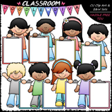 Pastel Clipboard Kids Clip Art - Kids With Clipboareds Cli