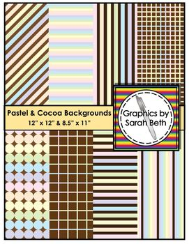 Pastel & Cocoa Digital Backgrounds - Clipart - Graphics