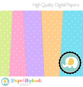 Pastel Colorful Hearts Digital Papers