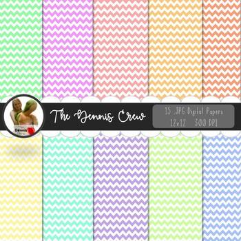 Pastel Colors Chevron Digital Papers
