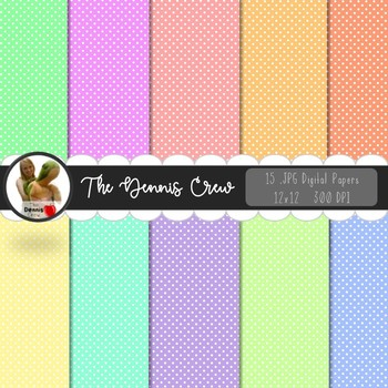 Pastel Colors Polka Dot Digital Papers