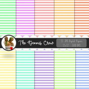 Pastel Colors Stripe Digital Papers