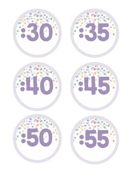 Pastel Confetti Clock Labels
