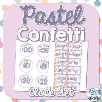 Pastel Confetti Decor Clock Set