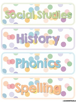 Pastel Confetti Subject Labels
