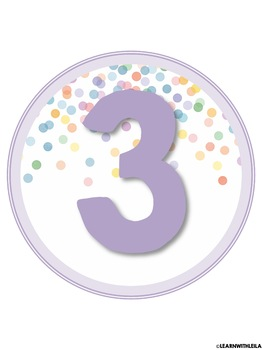 Pastel Confetti Number Set