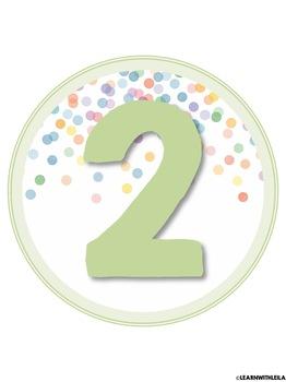 Pastel Confetti Decor Number Set