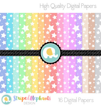 Pastel Crazy Star Digital Papers