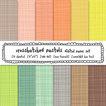 Pastel Crosshatch Digital Paper Set, Backgrounds for TpT Sellers