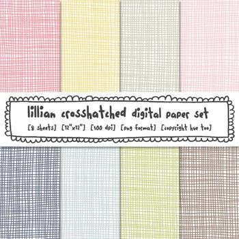 Pastel Crosshatch Digital Paper Set, Navy, Blue, Yellow, Pink, Green, Brown