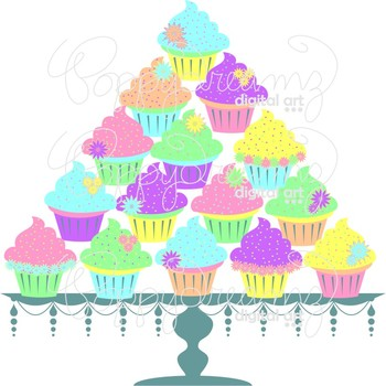 Pastel Cupcakes and Cake Stand by Poppydreamz