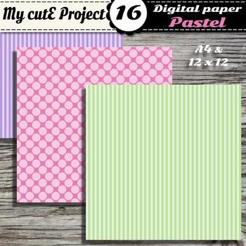 """Pastel DIGITAL PAPER Big Polka dots & stripes - Scrapbooking- A4 & 12x12"""""""