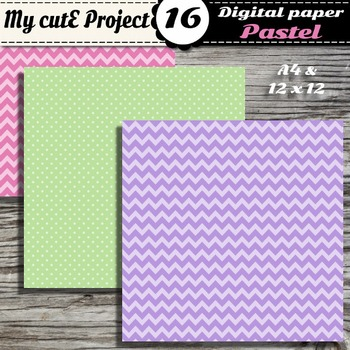 "Pastel DIGITAL PAPER Polka dots & chevron - Scrapbooking- A4 & 12x12"""