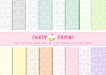 Pastel Damask Digital Paper Pack - by Sweet Papers