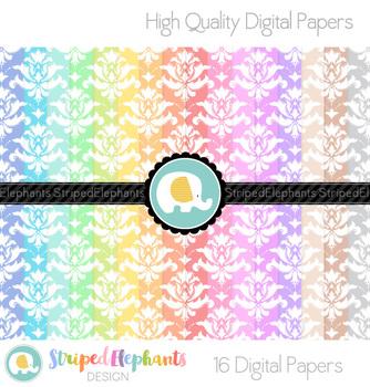 Pastel Damask Digital Papers