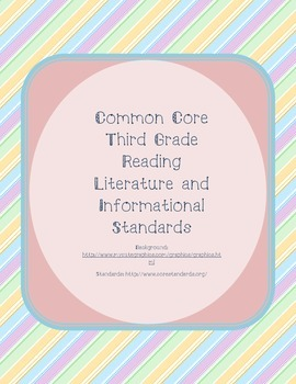 Pastel Diagonal Striped Third Grade Reading Standards