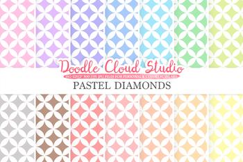Pastel Diamond digital paper, Diamond pattern, Digital Diamond, pastel colors .