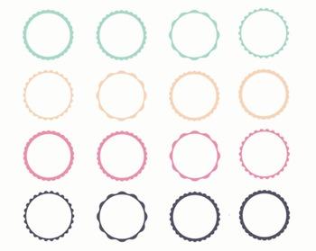 Pastel Digital Frames, Digital Clipart, Pastel Frame Set #047
