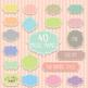Pastel Digital Frames, Labels Clipart - 40 PNG