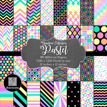 12x12 Digital Paper - Rainbow Collection: Pastels (600dpi)