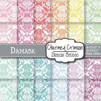Pastel Damask Digital Paper 1002