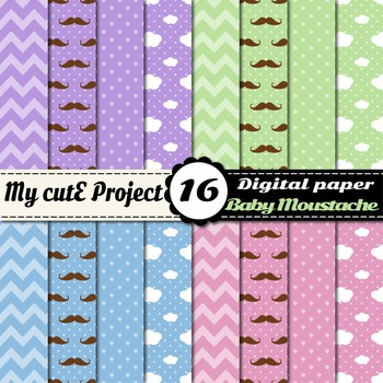 Pastel Digital papers - Mustache, chevron, polka dots, cloud - Baby Boy and Girl