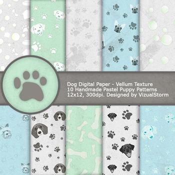 Dog Digital Paper, 10 Printable Pastel Pet Patterns - Paw Prints, Balls and Dogs