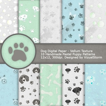image about Printable Paper Patterns named Canine Electronic Paper, 10 Printable Pastel Doggy Practices - Paw Prints, Balls and Puppies