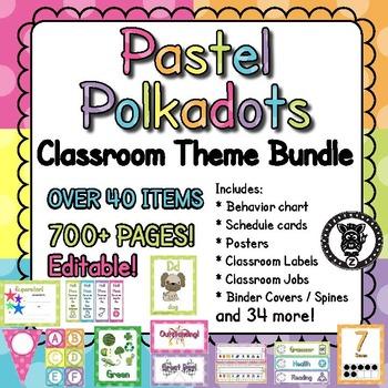 Classroom Theme Decor / Organization - Mega Bundle (Editable!) - Pastel Dots