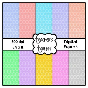Pastel Polka Dots Digital Background Papers {8.5 x 11} Clip Art CU OK