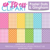 Pastel Dots Gingham Digital Papers