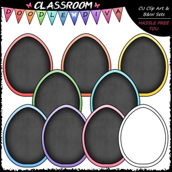 Pastel Easter Egg Chalkboards Clip Art - Easter Clip Art & B&W Set