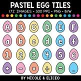 Pastel Easter Egg Letter and Number Tiles Clipart