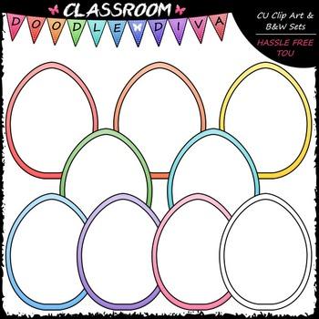 Pastel Easter Egg Whiteboards Clip Art - Easter Clip Art & B&W Set