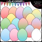 Pastel Easter Eggs Clip Art - Easter Clip Art & B&W Set