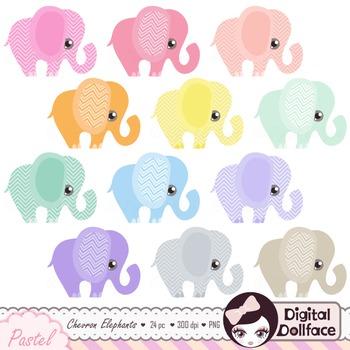Pastel Elephants Clipart / Chevron Elephant Clip Art Graphics