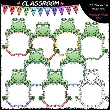 Pastel Fancy Message Board Frogs Clip Art