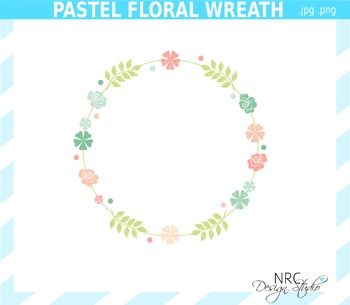 Floral wreath clipart commercial use