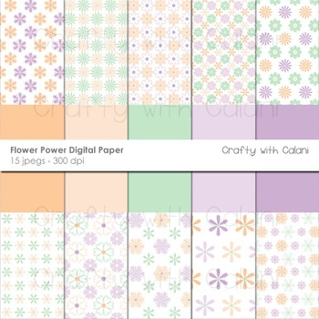 Pastel Flower Pattern Digital Paper Set in Peach, Purple and Mint.