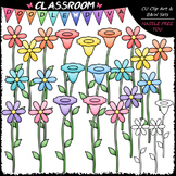 Pastel Flowers Clip Art & B&W Set