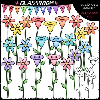Pastel Flowers Clip Art & B&W Set
