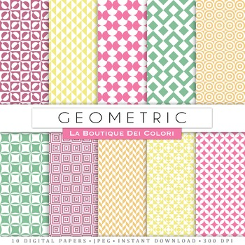 Pastel Geometric Digital Paper, scrapbook backgrounds