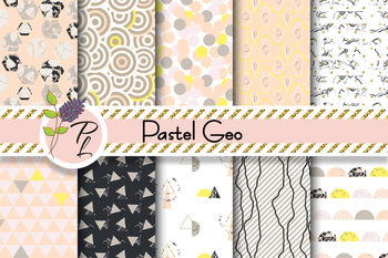 Pastel Geometric Patterns Seamless Pattern Set. Digital paper pack.