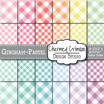 Pastel Gingham Digital Paper 1237