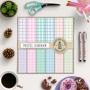 Pastel Gingham Digital Paper - Spring Picnic